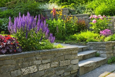 Custom Designed Stone Wall Garden Bed Full Of Flowers With Stone Steps.