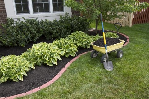 Garden Bed With Red Stone Edging And Wheelbarrow Full Of Mulch And A Shovel.