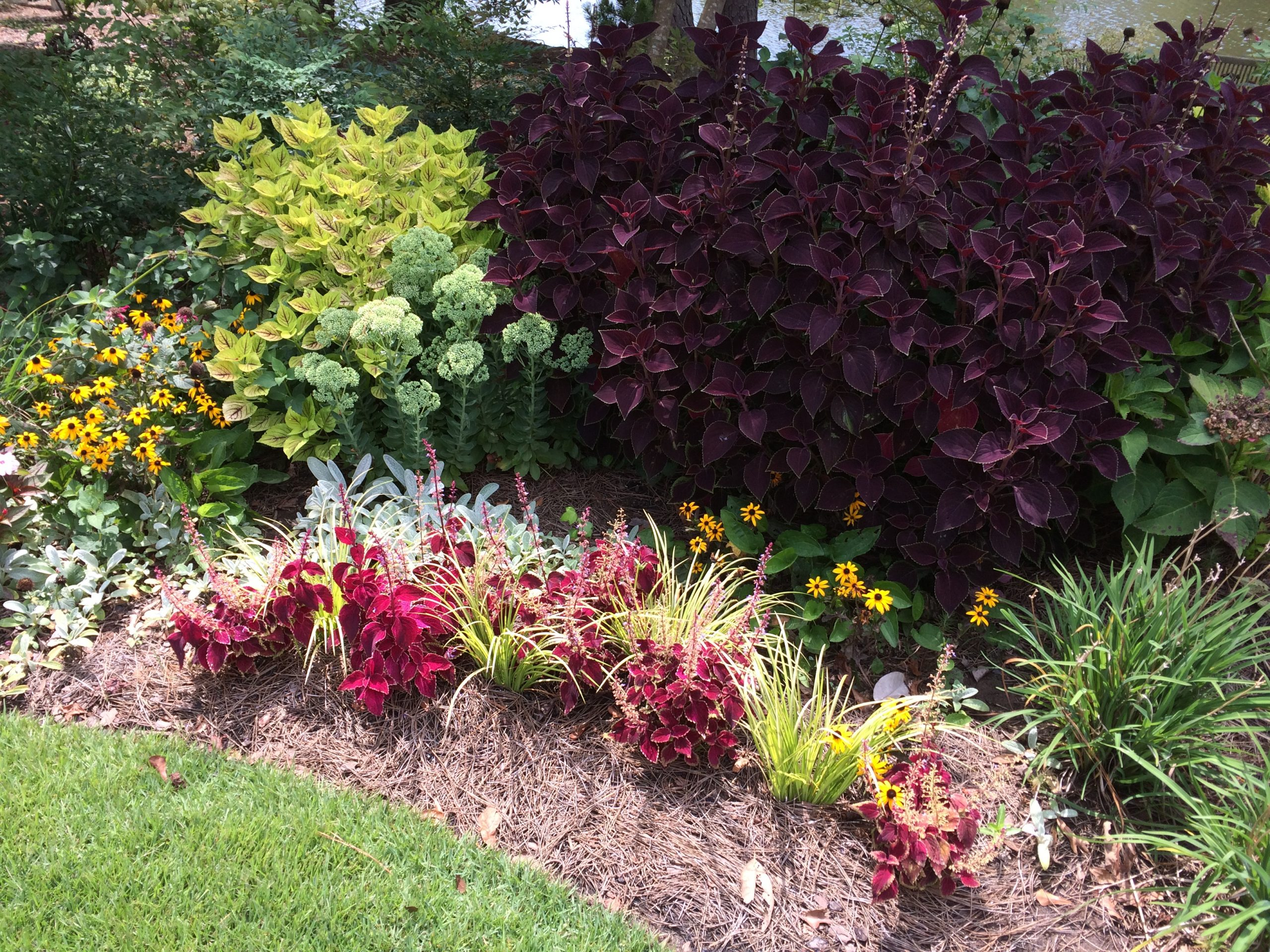 Custom Designed Landscaping With Red And Green Plants, Flowers, And Shrubbery
